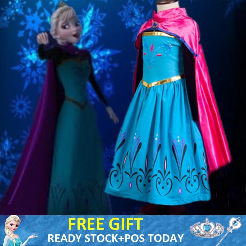 Gaun Princess Dress Elsa Frozen Sofia Baju Budak Clothing Frozen Costume  9a276b5bc1