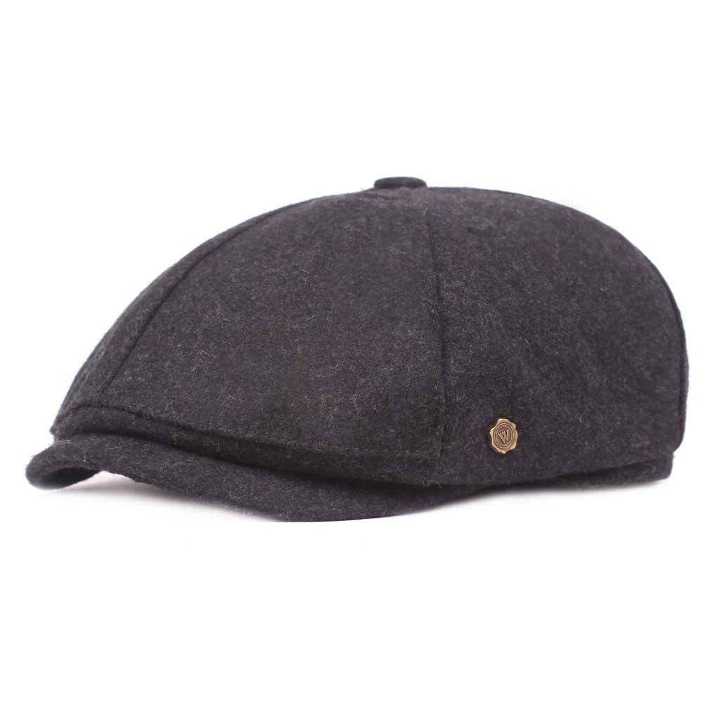 340b09f43 IB⊙Retro Winter Thicken Woolen Beret Hat Outdoor Plain Octagon Newsboy Caps