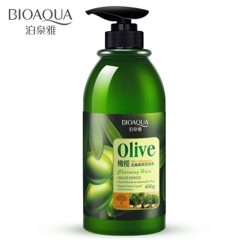 BIOAQUA Natural Olive Essence Hair Care Silky Shampoo Anti Dandruff Dry Damage Hair 400ML