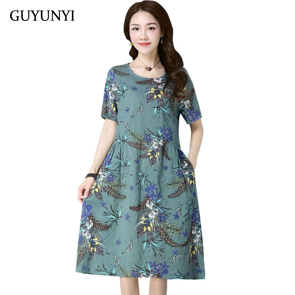 60a24cfadc640 Wholesale Ethnic Style Cotton Linen Vintage Floral Print Dress Casual Summer