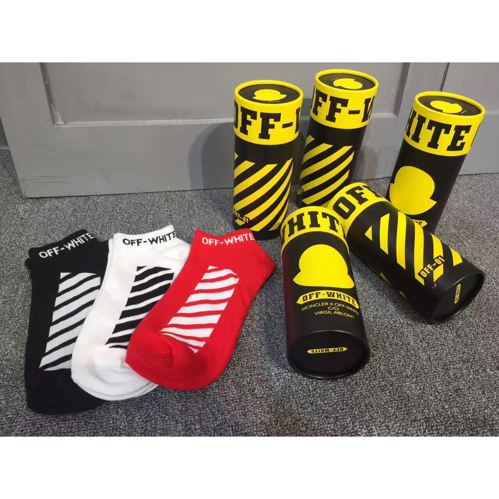 3b415308a7b7 Off White Virgil Abloh Stripe Sock Supreme Black Socks