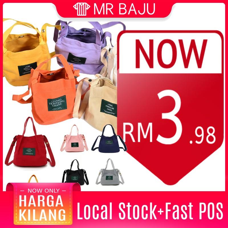 [Local Ready Stock] Top Seller Korean Style Canvas Mini tote Sling Bag  Handbag B043