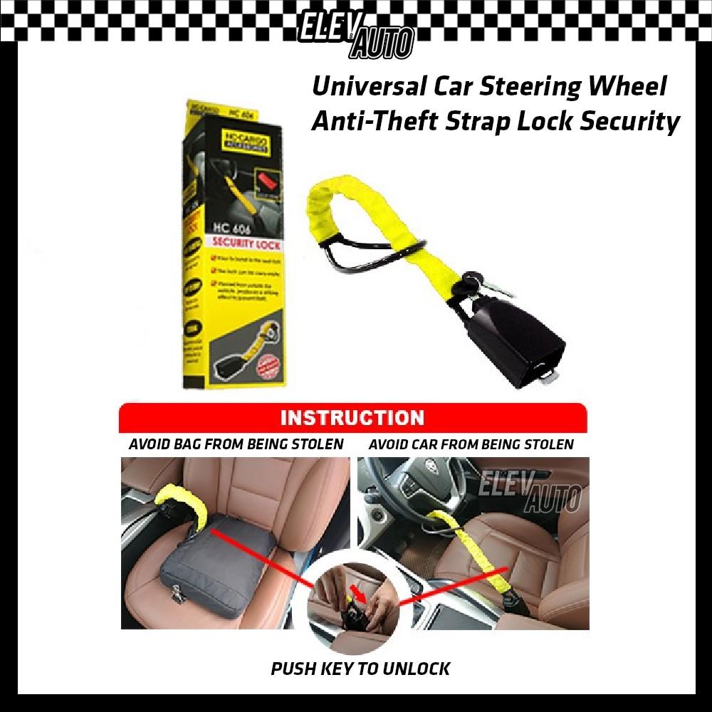 Universal Steering Lock Car Anti Theft Lock Vehicle Steering Wheel Locker Strap Lock Security