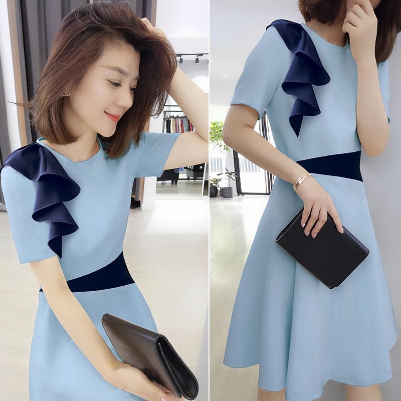 Korean Summer Midi Dress Women 2020 New European Fashion Popular Long Skirt Waist Slim Dress Shopee Malaysia