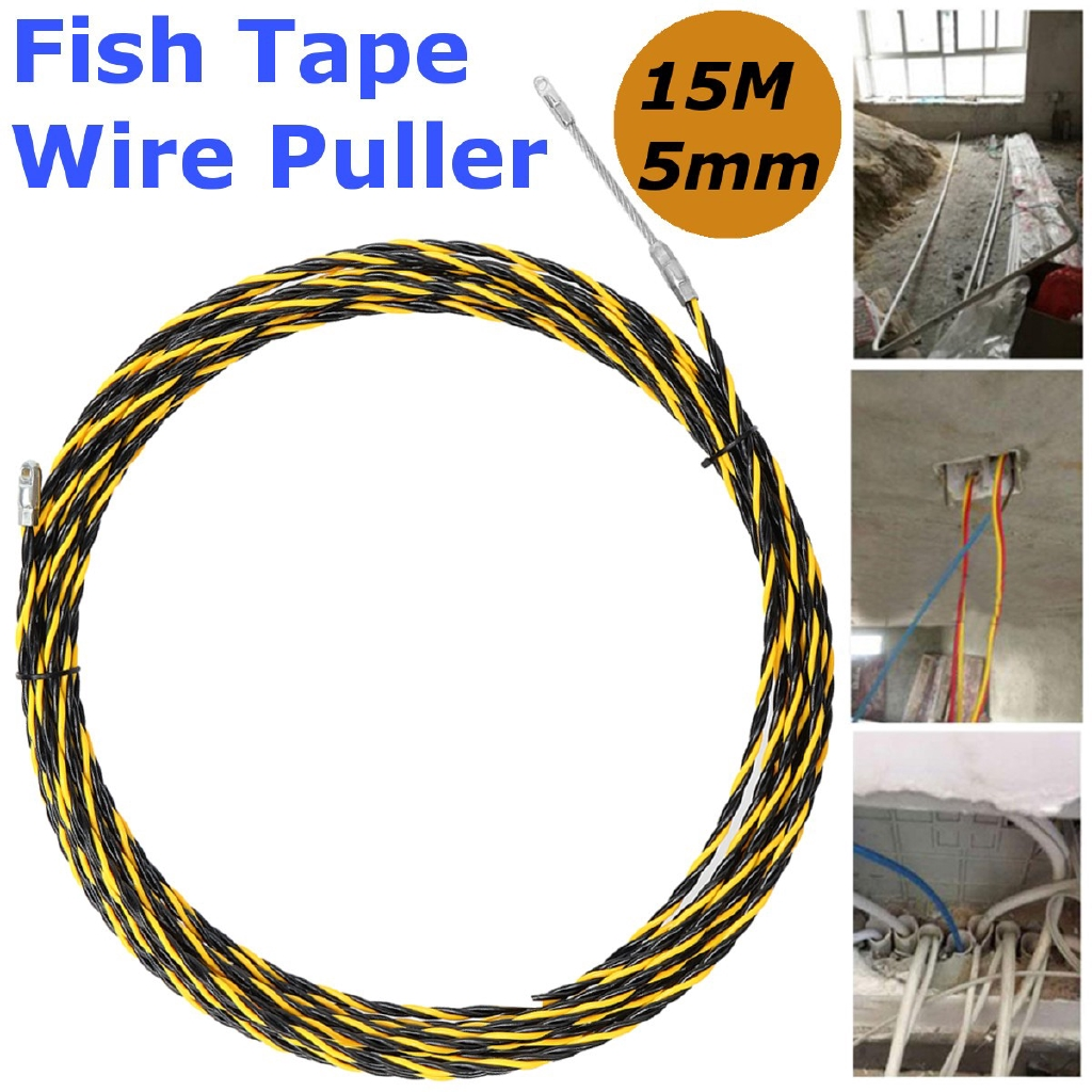 15M 5mm Cable Wire Puller Conduit Snake Fish Tape Cable Rodder Wiring Puller on