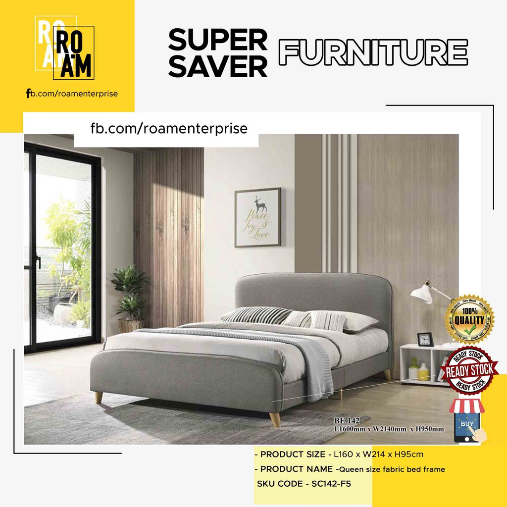 TAYLOR queen size fabric bed frame - Grey Color
