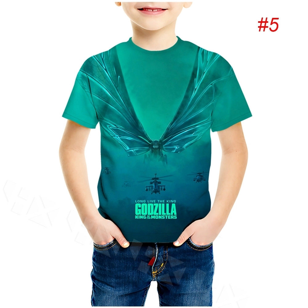 Kid//Youth 65 Years of God-Zi-lLa King of Mon-St-ER T-Shirts 3D Short Sleeve Tees for Girls Boys