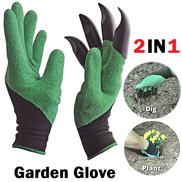 2 Pcs Garden Gloves Waterproof Durable Latex Mittens with Claws for Dig Planting Gardening Glove