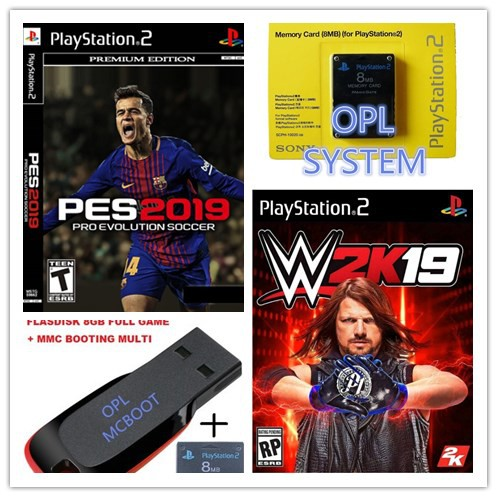 PS2 Memory Card with Free Mcboot +OPL+PES2019+WWE2K19