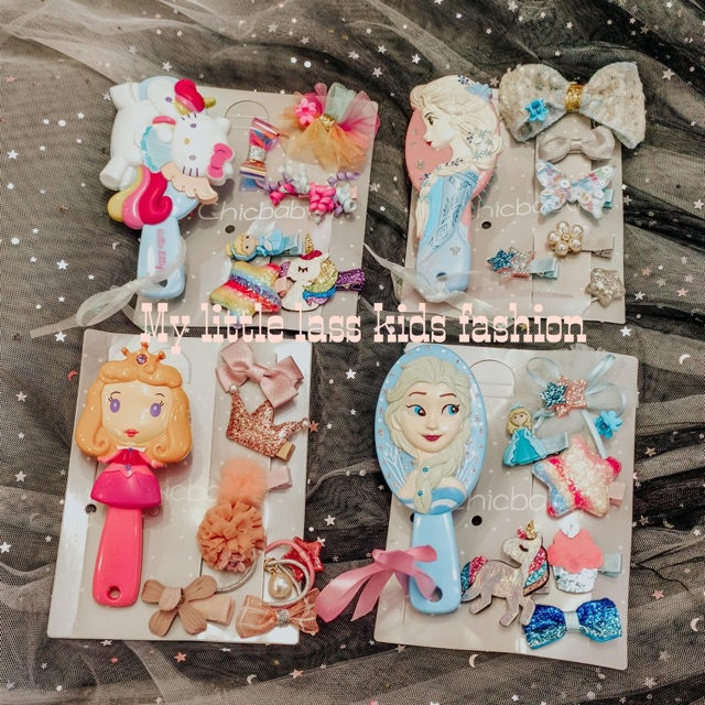 PRINCESS Comb and Clips Elsa Snow white Mermaid repunzel Set For Girls