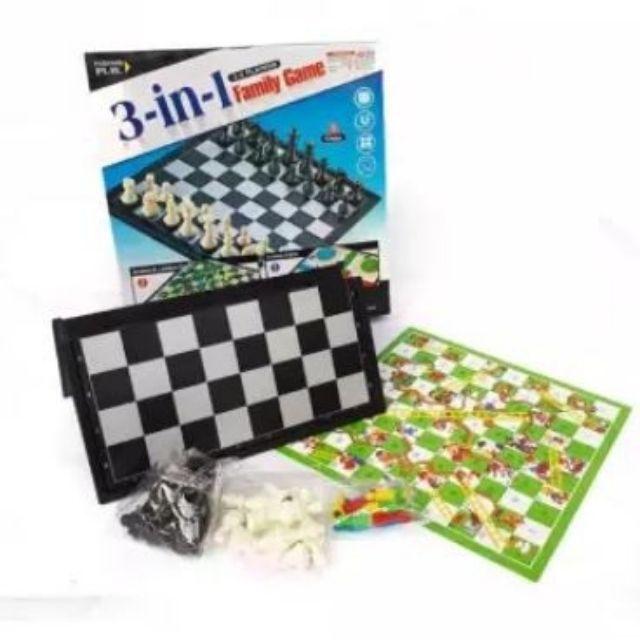 25cm x 25cm Board Games Chess, snake & Ladders, flying games 3 in 1 family games boardgames board size 25cm x 25 cm