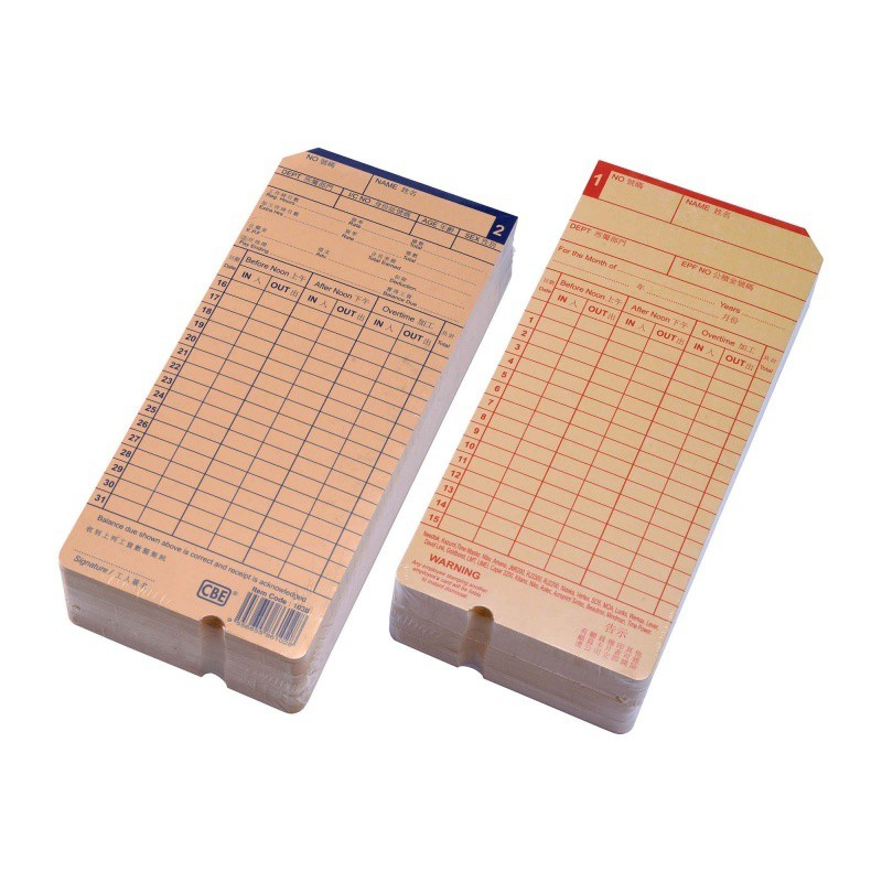 CBE Punch Card / Time Recorder Card -100pcs/pack