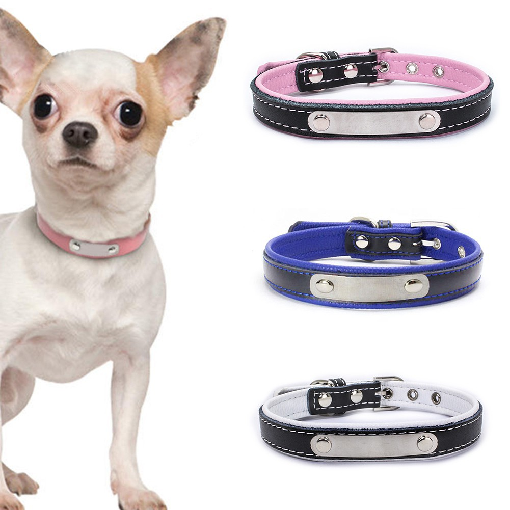 Soft Leather Dog Diy Cat Puppy Pet Name Id Collar