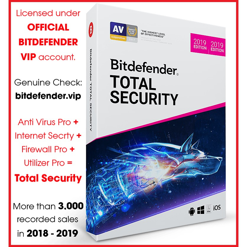 BitDefender Total Security 2020 (Up to 1500 DAYS Premium License)