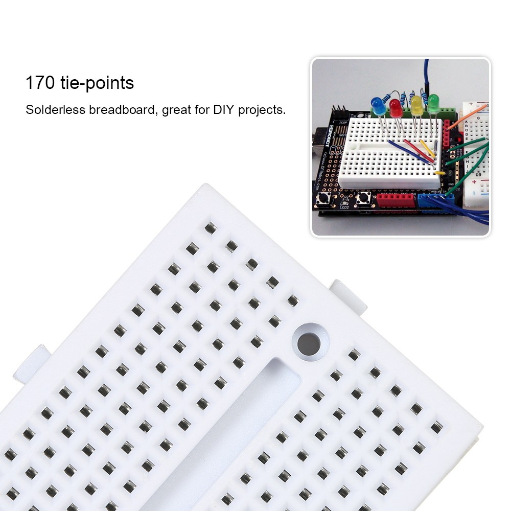 2pcs Mini 400 Tie Point Pcb Solderless Breadboard Prototype Transparent Showing The Metal Strips For Protoboard Ardui Shopee Malaysia