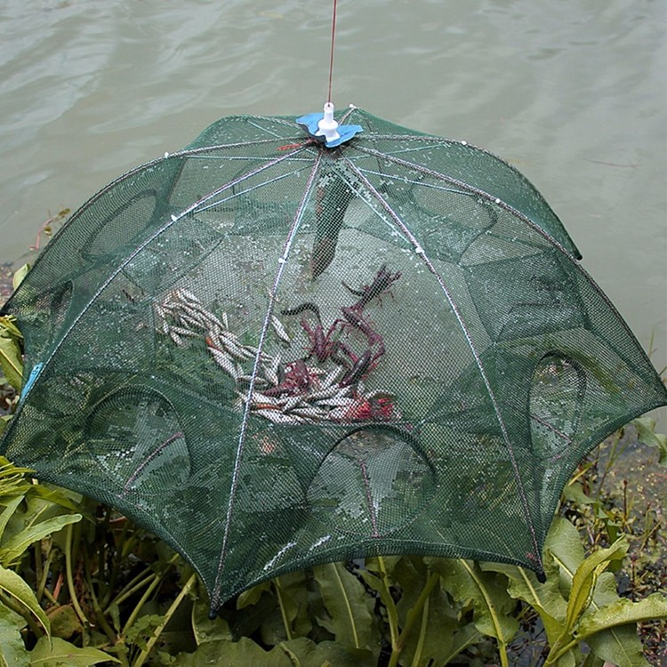 6 Holes Automatic Fishing Net Shrimp Cage Foldable Nylon Crab Fish Trap Crawfish