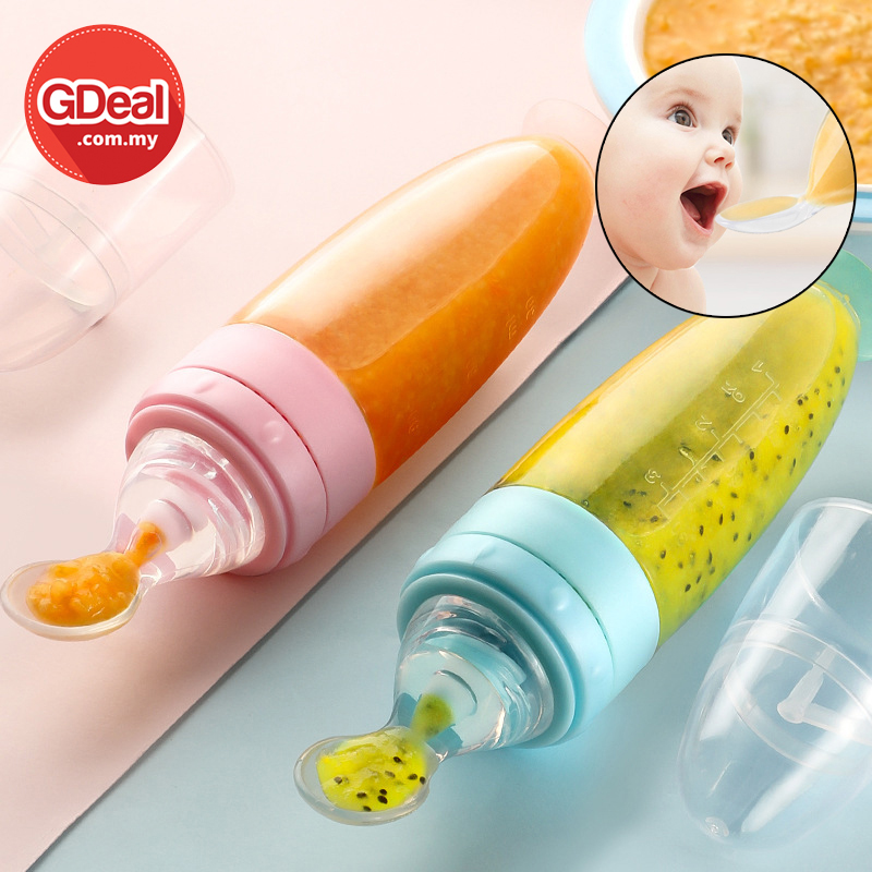 GDeal Silicone Baby Bottle Squeeze Spoon Child Food Milk Supplement Rice Cereal Bottles Feeder