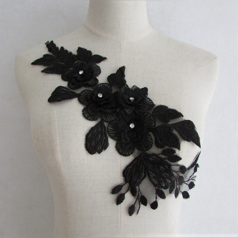 Black Lace Floarl Sewing Embroidery Diy Wedding Dress Applique Decor Accessory