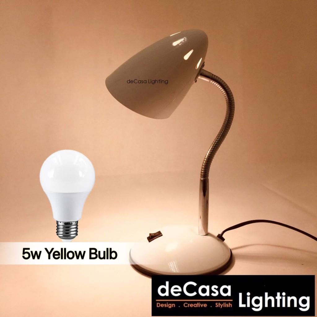 [Set With 5w Led Bulb] DECASA LIGHTING Table Lamps / Study Desk Lamp Adjustable Lampu Meja White Colour (MT-710M)