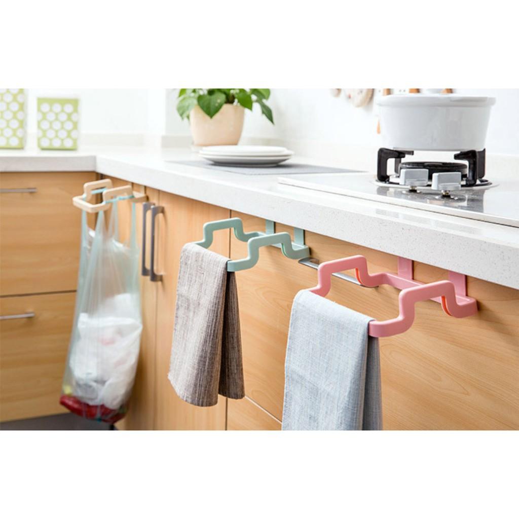 Vnepy Kitchen Back Door Portable Garbage Bag Bracket Household Cabinet Rear Door Rag Hanging Rack Trash