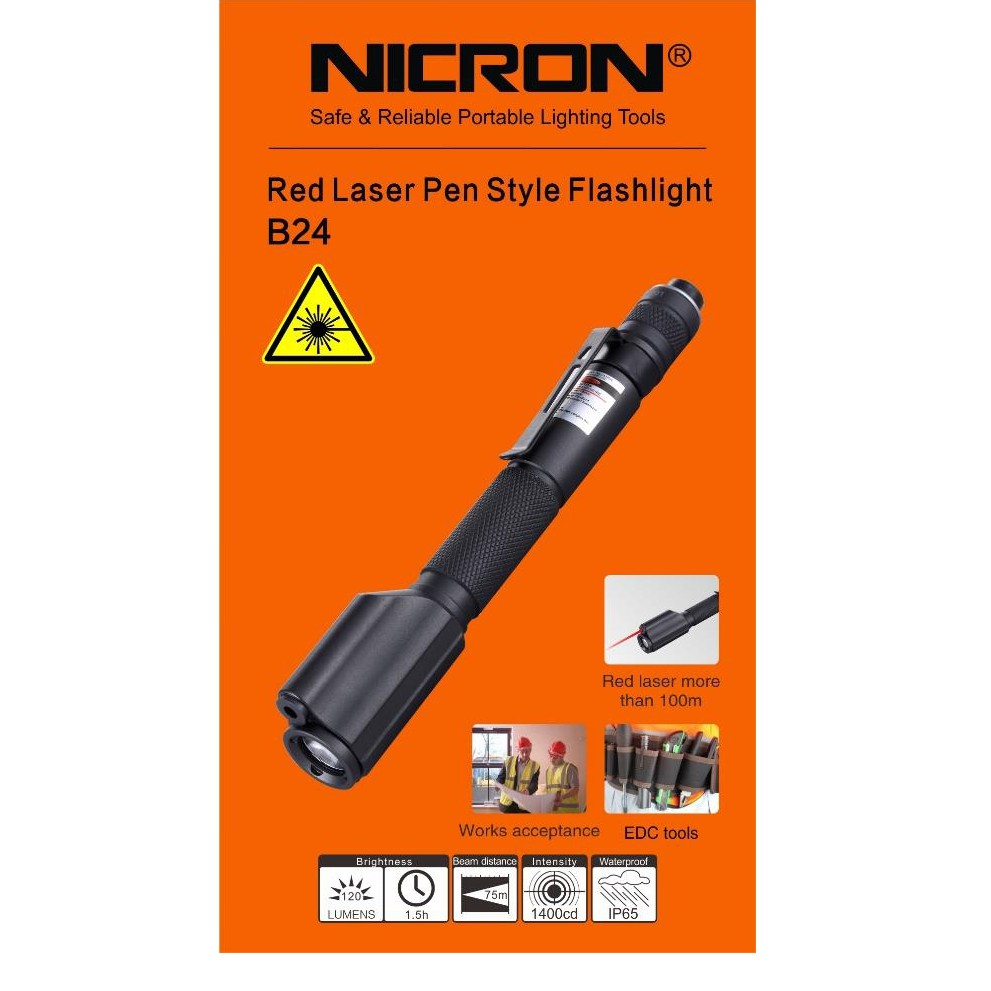 B24 NICRON RED LASER PEN STYLE FLASHLIGHT TORCH LIGHT LAMP IP65