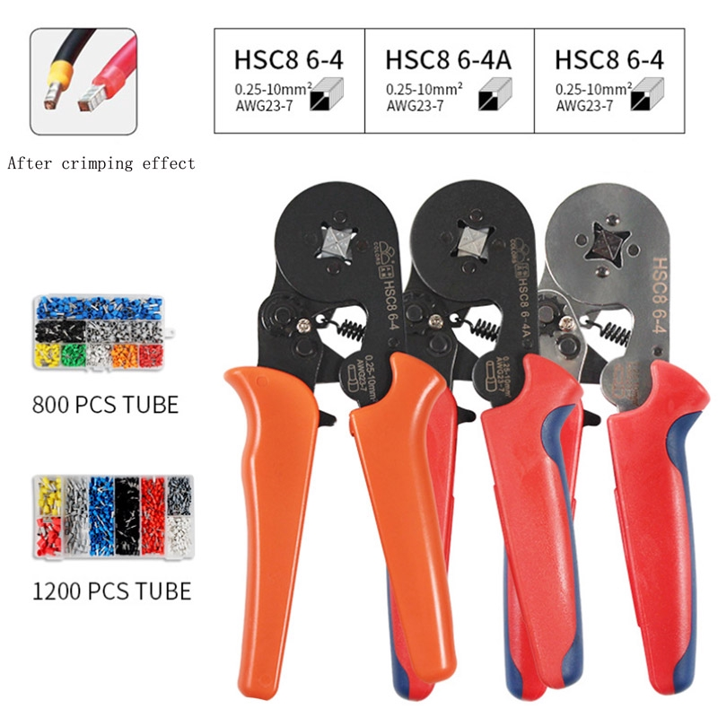 Auto Ratcheting Ferrule Crimper Plier HSC8 6-4A 0.25-10mm² AWG23-7 Wire Tool