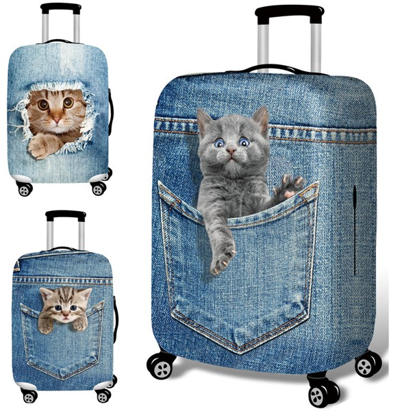 Cat Travel Luggage Covers Suitcase Protector Bag Cover Fits 18-32 Inch Luggage Suitcase Baggage Cover