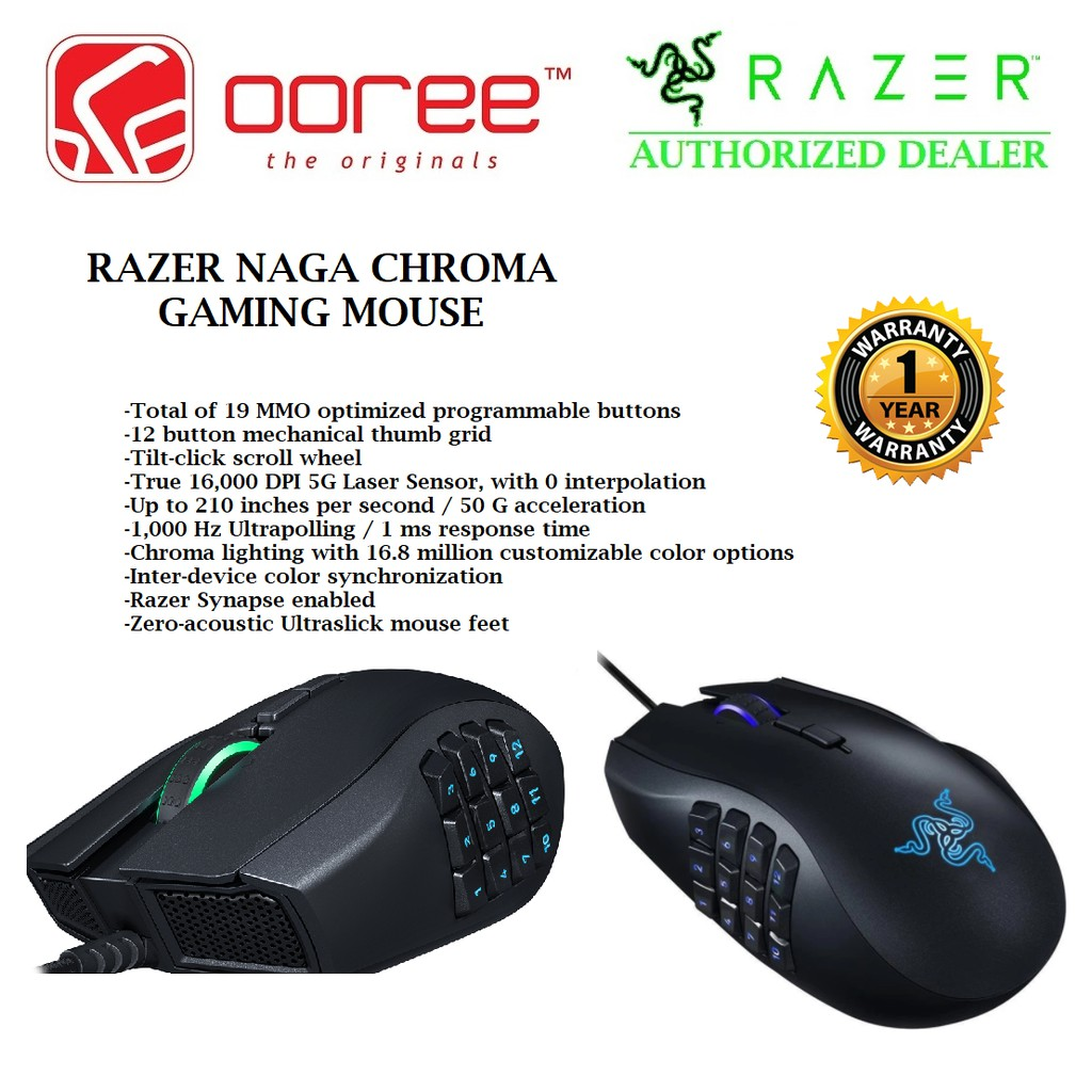 Genuine Razer Naga Chroma Multi Colour Gaming Mouse Rz01 01610100 R3a1 Turret Living Room And Lapboard Rz84 01330100 B3a1 Shopee Malaysia
