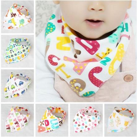 8pcs//set Kids Baby Feeding Cotton Towel Bib Boy Girl Bandana Saliva Square