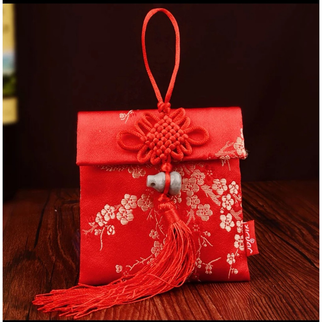 [ READY STOCK ]  Chinese Jade Gourd Pendant Red Packet Silk Red Envelope Jualan Murah New Year Creative Ang Pao