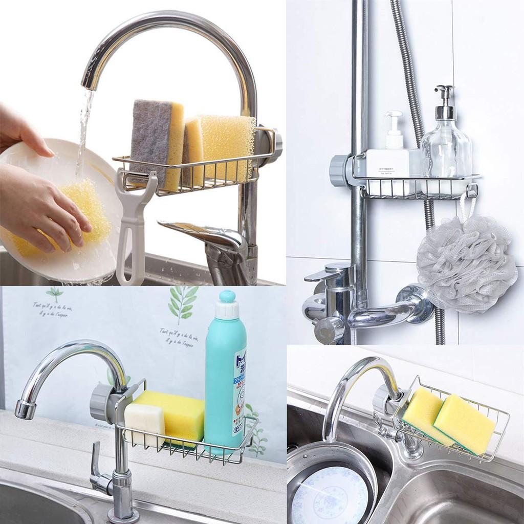 Sponge Holder Kitchen Sink Organize Stainless Steel Soap Brush Drainer Rack