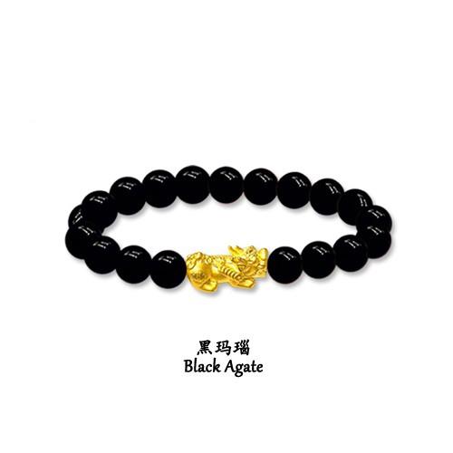 MJ Jewellery 999 9 Pure Gold 'Pixiu' Agate Bracelet