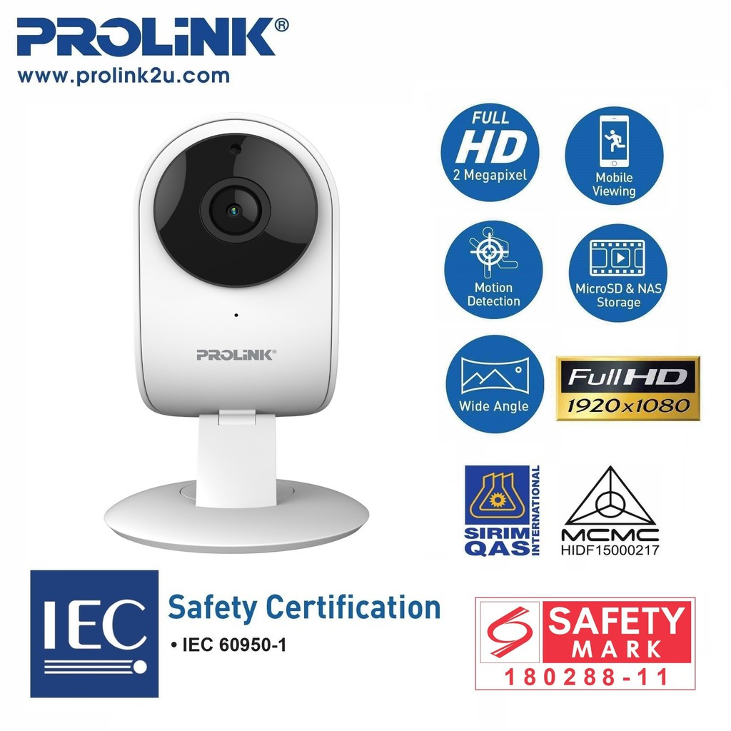 PROLiNK 1080p Full-HD Wi-Fi IP Camera Night Vision Ceiling /Wall Mount Night Vision PIC3002WN