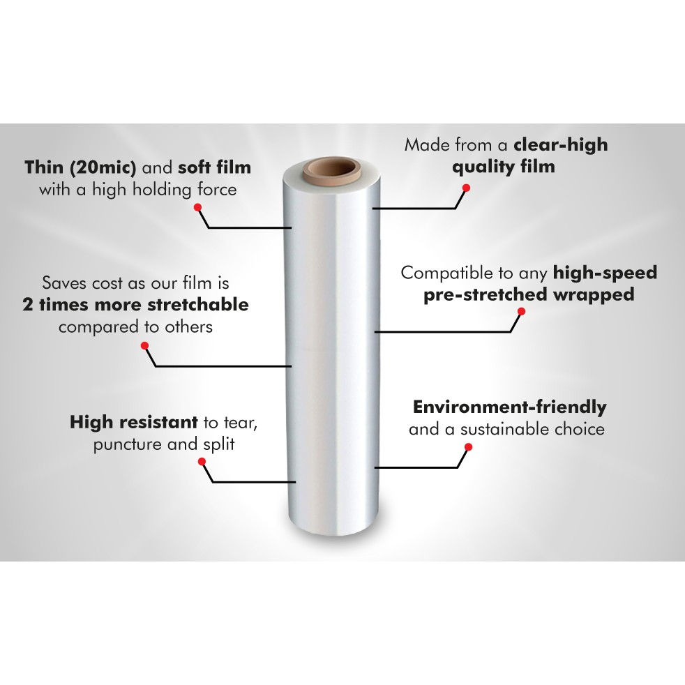 (5.5kg x 1 Roll) 500mm Stretch Film / Wrapping Firm / Plastic Pallet Wrap - Black / Transparent / Clear