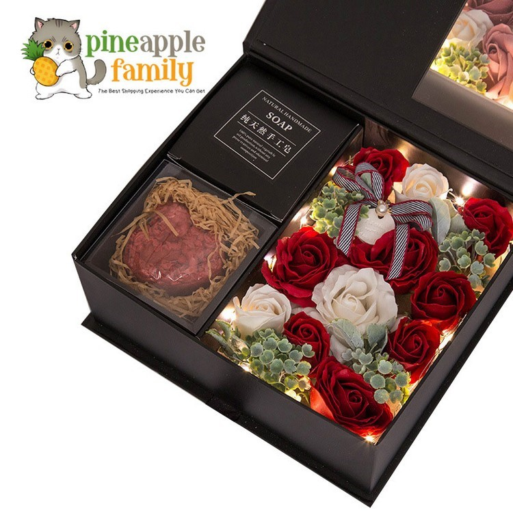 Bath Soap Rose Flower Gift 16 Roses Soap Simulation Rose Petals Body Soaps with Premium Wooden Gift Box Drawer Jewelry Case Floral Scented Valentines Day Anniversary Mothers Day Birthday Gifts
