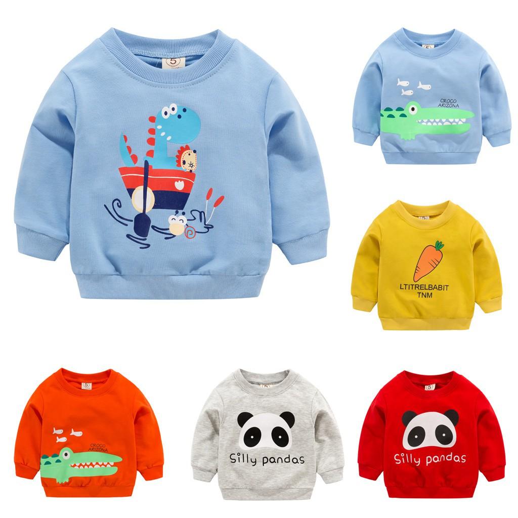 7ee9c796bf622 Toddler Kid Baby Girl Boy Clothes Long Sleeve Cartoon Printed T-shirt Tops