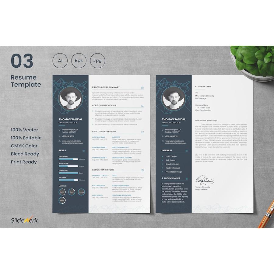 10 Modern Resume, CV & Cover Letter Template