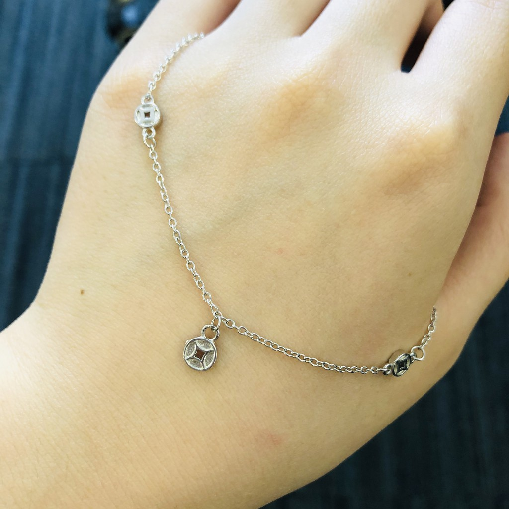 Lucky Coin Silver Anklet