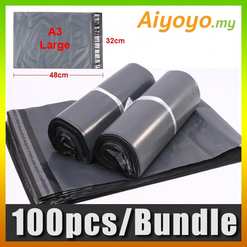 100pcs/pkt L-Size A3 Shipping Courier Flyer Parcel Mailer Post Mailing Plastic Bag Poslaju Express Packing Packaging Env