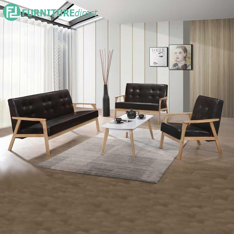 Furniture Direct MORRIS solid rubberwood frame sofa set with free coffee table-3 colors