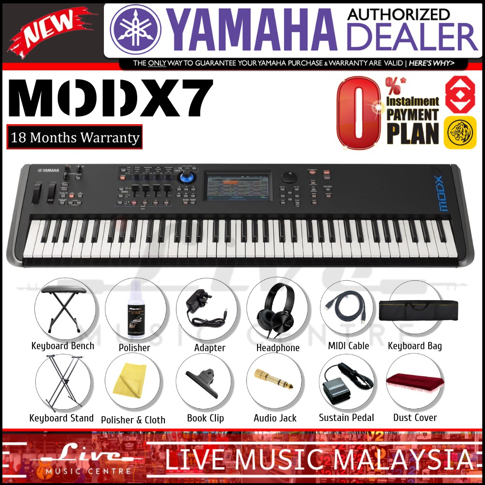 Yamaha MODX7 76-Key Synthesizer w/ Keyboard Stand, Bag, Sustain Pedal, FC5  (MODX 7/MODX-7)