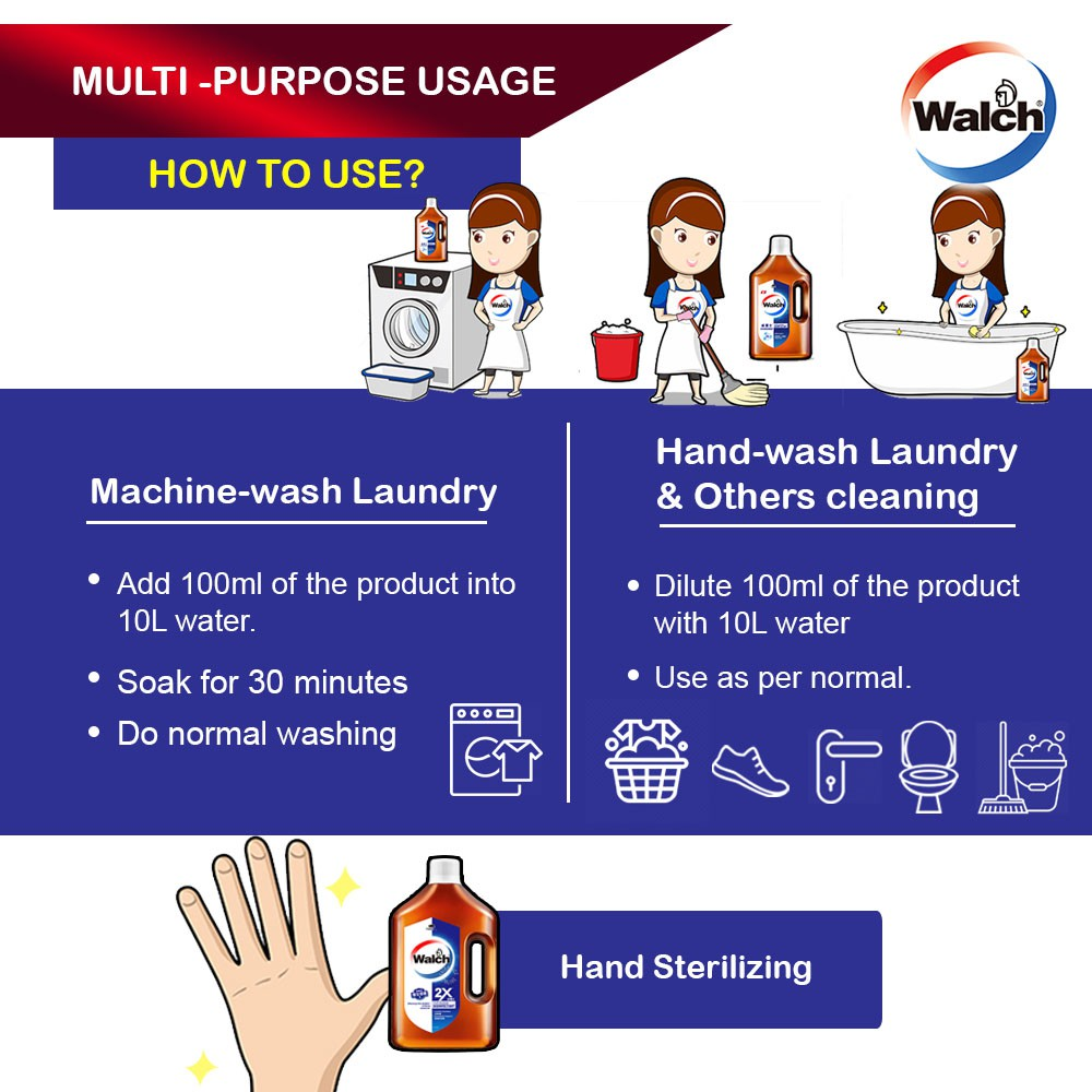 Ready Stock Walch Multi Purpose Concentrated Disinfectant 1.6L Kills 99.9% Germs