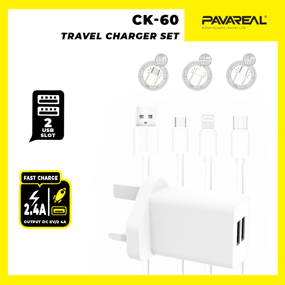 PAVAREAL PA-CK60CC15/18/19 Travel Wall Charger Fast Charge Dual USB 2.4A Safety & Stable + Micro/Lightning/Type C Cable