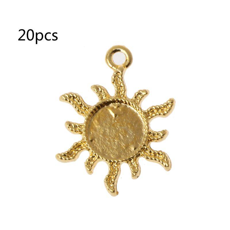 20Pcs Star Sun Moon Metal Frame Pendant Open Bezel Setting Resin Jewelry Making