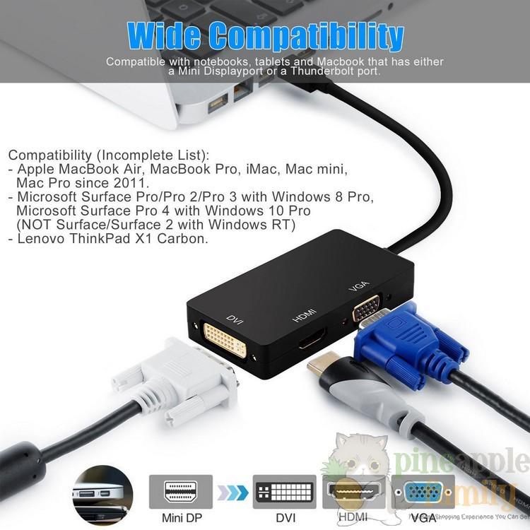 3 in 1 Mini Display/Thunderbolt Port to HDMI VGA DVI Display