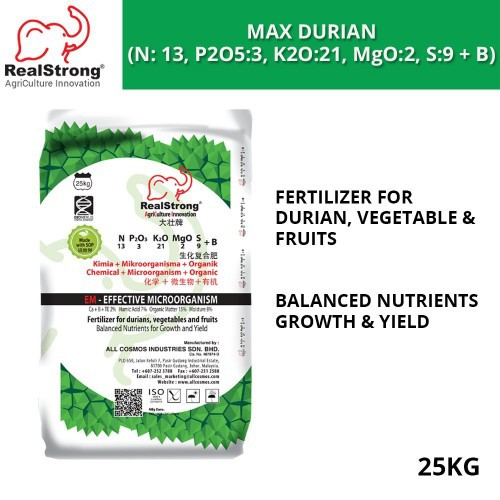 Real Strong MAX Durian Fertilizer (N: 13, P2O5:3, K2O:21, MgO:2, S:9 + B) 25KG