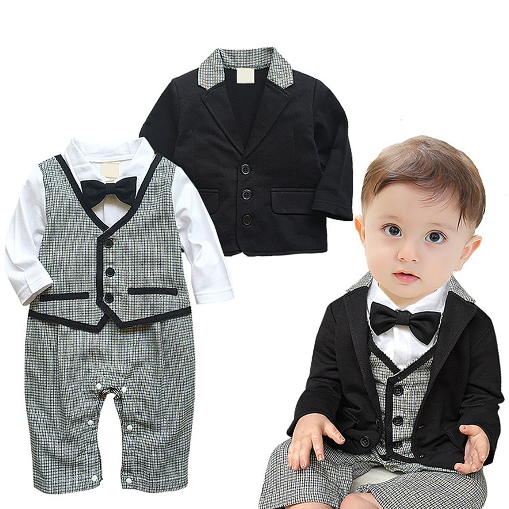 2Pcs Infant Baby Boy Formal Gentleman Tuxedo Birthday Wedding Romper Formal Sets