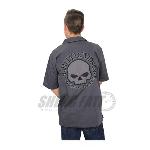 Genuine Harley Davidson Grey Willie G Skull Short Sleeve Garage Shirt 99028-17VM