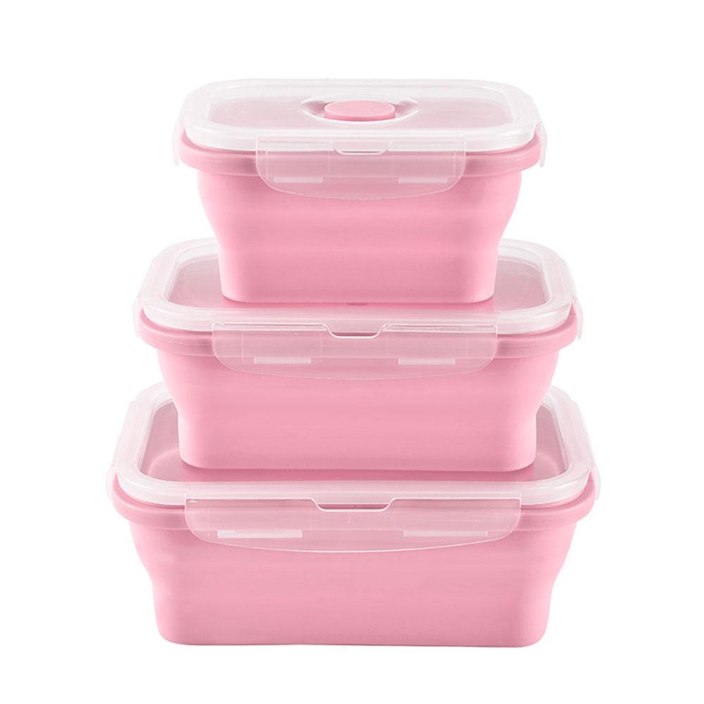 930f74ca1bc4 3 Pcs/Set Silicone Collapsible Portable Food Container Stackable Storage