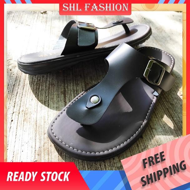 SHL Men PU Leather Sandal Casual Slip On Selipar Kasut Lelaki size 39-44【男士凉拖】-526